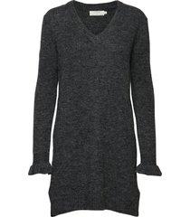 kaitlyn tunic stickad klänning grå cream