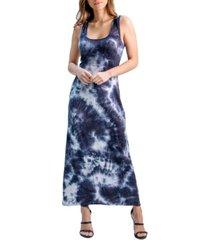 women's tie dye fitted racerback maxi dress