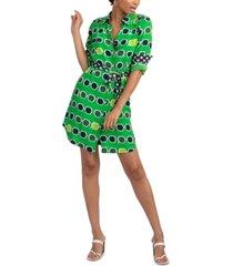 trina turk redondo silk geo-print belted dress