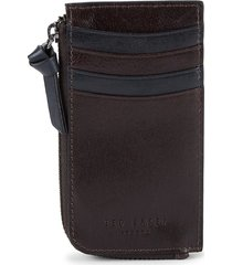 ted baker men's zip-around leather card case - chocolate