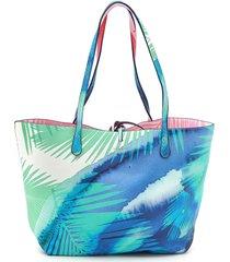 bolsa sacola desigual dupla face com necessaire azul