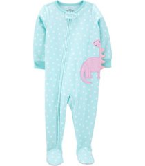 carter's baby girls 1-piece dinosaur fleece footie pjs