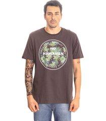 camiseta hawaiian dreams estampada spike flora cinza - cinza - masculino - dafiti