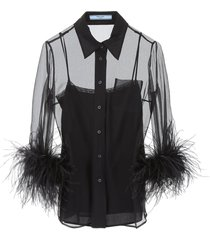 prada shirt with feathers