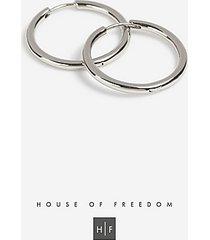 *house of freedom fine hoop earrings - silver