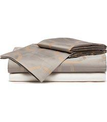 chains arredo king size duvet set - grey/camel