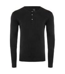 t-shirt masculina pima berlim botões slim fit - preto