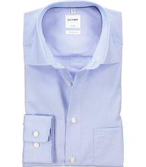 olymp business shirt strijkvrij lichtblauw ruitje