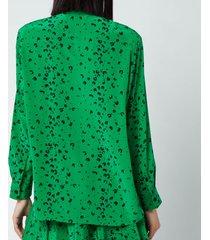 kenzo women's printed soft shirt - green - eu 41/uk 12