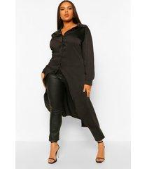 plus satijnen maxi blouse met langere achter zoom, black