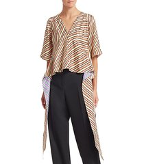 asymmetric stripe silk blouse