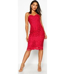 boutique mesh panelled strappy midi dress, berry