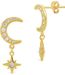 14k gold vermeil sterling silver crystal crescent burst charm stud earrings