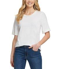 dkny mixed-media woven t-shirt