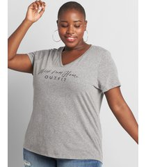 lane bryant women's work from home outfit graphic tee 26/28 mid heather grey