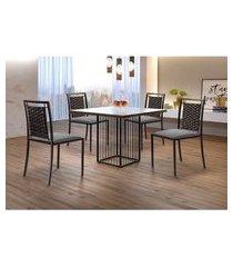 conjunto de mesa de jantar hera com tampo de vidro mocaccino e 4 cadeiras grécia i linho cinza e café