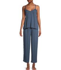 flora nikrooz women's fay 2-piece jacquard pajama set - blue - size l