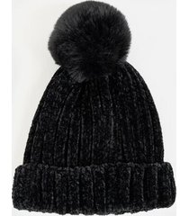 dottie rib knit fur pom beanie - black
