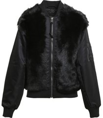 mr & mrs italy x nick wooster genuine shearling panel bomber jacket, size x-large - black