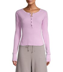 free people movement women's ribbed cropped henley - storm - size xs