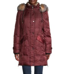1 madison women's down-filled faux fur-trim & fox fur hood parka jacket - burgundy - size xs