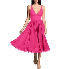 dress the population alicia mixed media midi dress, size small in bright fuchsia at nordstrom