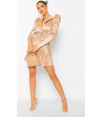 taffeta blazer jurk met pofmouwen en strik, champagne