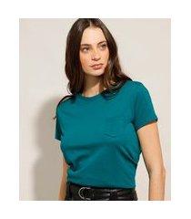 blusa básica de algodão com bolso manga curta decote redondo verde