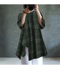 zanzea para mujer cuello redondo de manga larga a cuadros compruebe dobladillo irregular de algodón de lino tapas flojas blusa de la camisa -ejercito verde