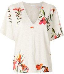 osklen hibiscus v-neck blouse - neutrals