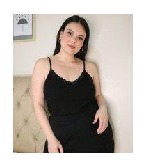 regata de pijama com decote v com detalhes em renda curve & plus size | ashua curve e plus size | preto | eg