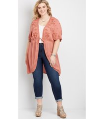 maurices plus size womens floral embroidered duster kimono