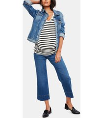 a pea in the pod maternity cropped wide-leg jeans