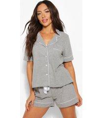 jersey pyjama set met shorts en knopen, grijs