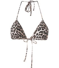 ganni leopard print string bikini top - neutrals