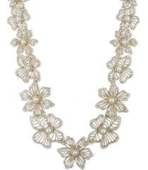 "marchesa gold-tone crystal & imitation pearl flower 16"" collar necklace"