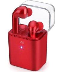 audífonos bluetooth inalámbricos estéreo con caja de carga - rojo