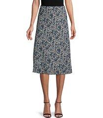 floral-print pull-on skirt
