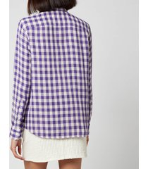 ami women's classic gingham shirt - violet - l