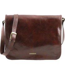 tuscany leather tl141254 tl messenger - borsa a tracolla 2 scomparti - misura grande marrone