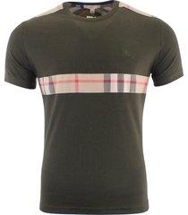 burberry brit men's patch nova check short sleeve t-shirt green size s, m, l, xl