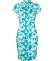 shanghai tang cotton stretch qipao orchid pattern dress - white