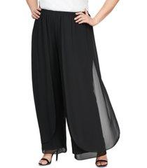 alex evenings plus size chiffon straight-leg pants with side flyaway detail