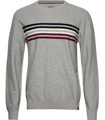 signature knit gebreide trui met ronde kraag grijs lindbergh