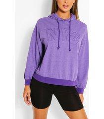 gebleekte oversized nyc hoodie, paars