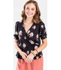 cami floral wrap blouse - black