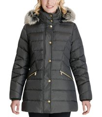 london fog faux-fur trim hooded down puffer coat