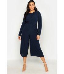 plus woven front culotte jumpsuit, navy