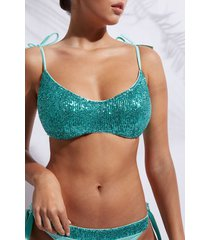 calzedonia tank-style swimsuit top cannes woman blue size 5