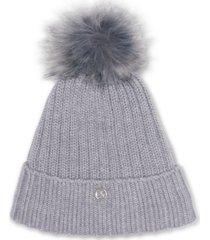calvin klein fleece-lined knit pom pom hat